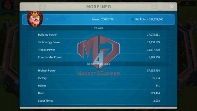 Account 57M Power ** Vip 14 ** Maxed 5 Commanders ** 25 Passports ** 2 Farm Accounts
