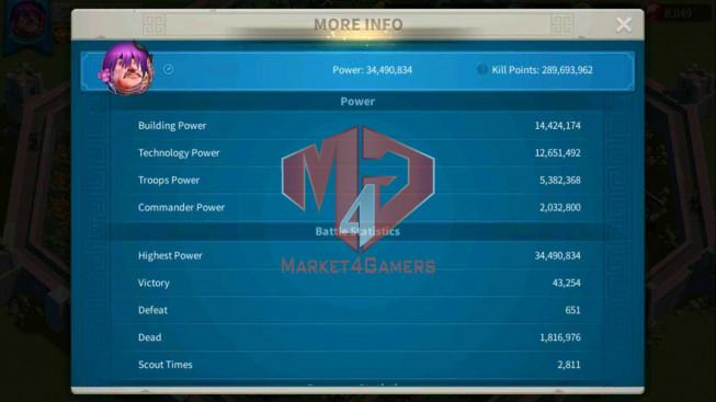 SOLD Account 34M Power ** Vip 13 ** Maxed 3 Commanders ** 15 Passports ** 1M2 Credits