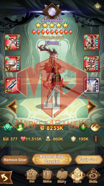 [SOLD][Whale Account]335M– VIP 10 –s377 –41 HEROS ASCENDED + 1acc 208M S308