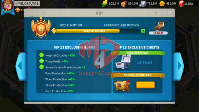 SOLD Account 48M Power ** Maxed 4 Commanders ** Near T5 ** 31K Gems