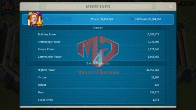 Account 32M Power ** Maxed 3 Commanders ** 17K Gems ** 1M9 Credits