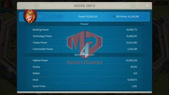 Account 61M Power ** Maxed 3 Commanders ** 2M4 Credits ** 2 Farm Account ** 21K Gems