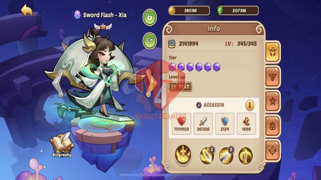 iOS – Lv283 – S79 – Vip 8 – Void Heroes XIA – 11 Heroes E5 + 2e3 +1e2 – 5m8 Power – 26 Skins