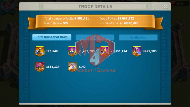 Account 62M Power ** Maxed 7 Commanders Cavalry ** Farm account ** 6M Credits