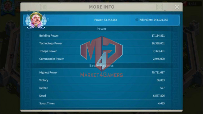 SOLD Account 53M Power ** Maxed 4 Commanders ** 15M Credits ** Second Account 35M