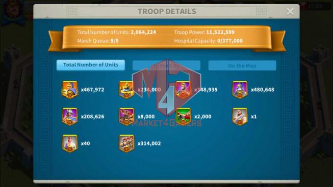 Account 58M Power ** Maxed 3 Commanders ** 2 Farm Accounts ** 17K Gems