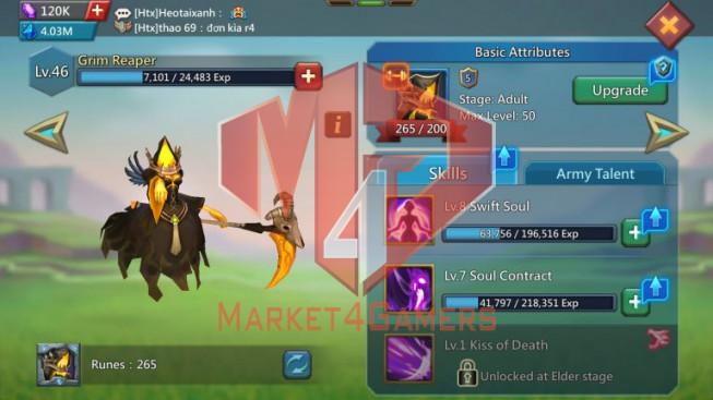 Account 838M – 307M Research – 2 Skins Castle – 115K Gems – Watcher Gold – 13 Migrations Scroll – 449$