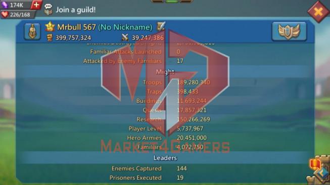 Trap Account 399M – 150M Research – 174K Gems – 14M Troop – 229$