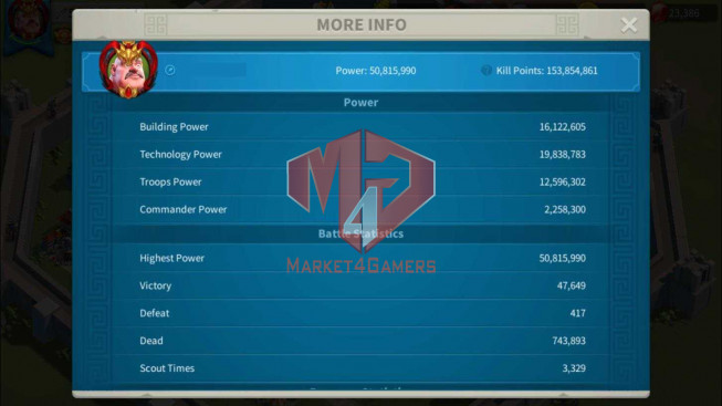 Account 50M Power ** Maxed 3 Commanders ** Farm Account
