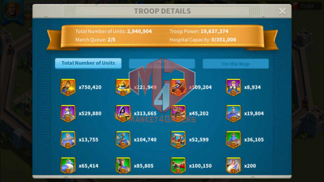 Account 65M Power ** Maxed 3 Commanders ** 19K Gems