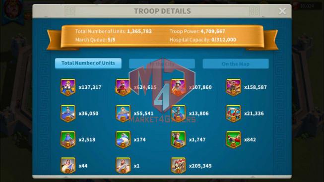 Account 33M Power ** Maxed 4 Commanders ** 10K Gems ** 3M7 Credits