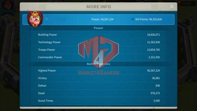 Account 56M Power T5 ** Maxed Alex, Aethef ** 21K Gems ** 1M2 Credits
