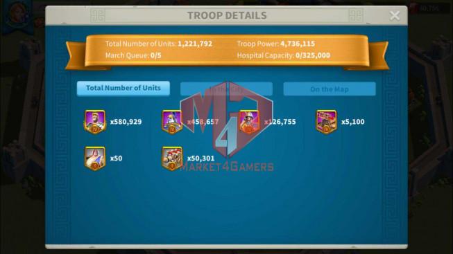 Account 35M Power ** Maxed 3 Commanders ** Farm Account ** 40K Gems