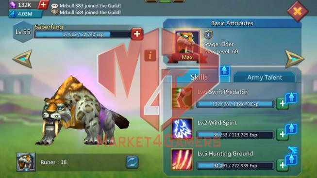Account 668M – 282M Research – 132K Gems – 2 Castle Skin – Watcher Gold