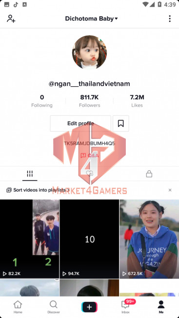 ✅ Account Verified BIG ACCOUNT 814K Followers – 7.2M Likes – Entertainment Channel – No.159