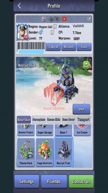 All Devices Account – Lv 77 – 28 Heroes Legendary – 2 Base Skins