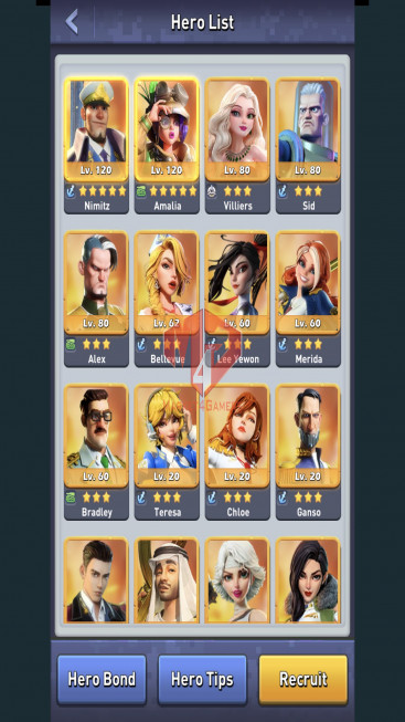 All Devices Account – Lv 80 – 33 Heroes Legendary – Max Nimitz, Amalia – 4 Base Skin