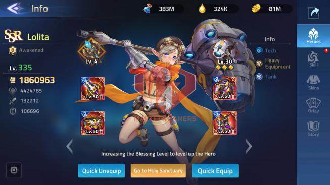 Account Lv 237 Vip 11 SV 30275 32 heroes Awakened, 1 Skin Epic Lancelot