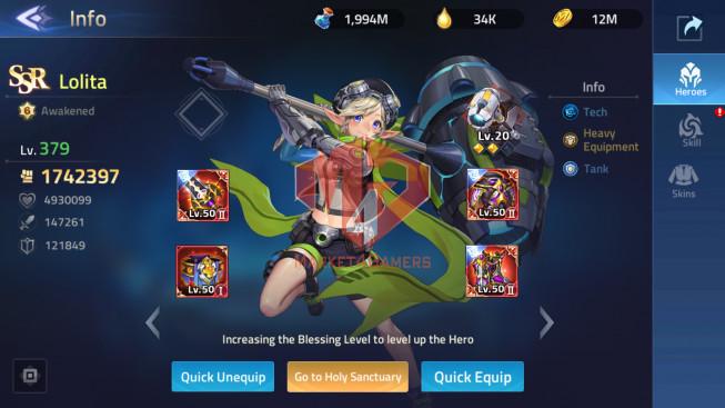Account Lv 264 Vip 12 – 40 Heroes Awakened