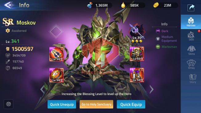 Account Lv 248 Vip 10 – 35 Heroes Awakened – 2 Skin Epic ( Argus – Hylos)
