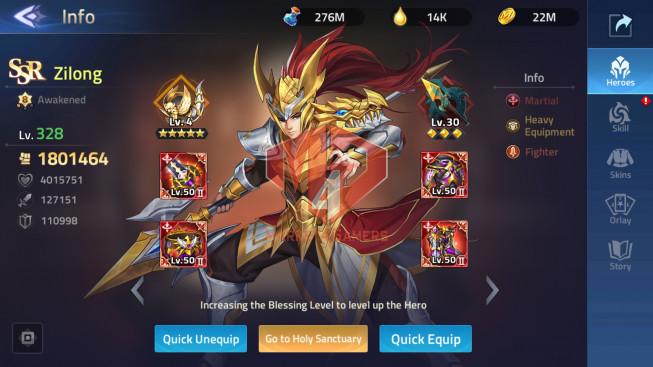 Account Lv 203 Vip 10 – 27 Heroes Awakened