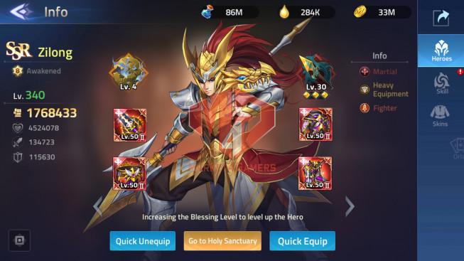 Account Lv 232 Vip 10 – 34 Heroes Awakened