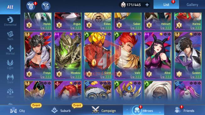 Account Lv 226 Vip 10 – 31 Heroes Awakened – Skin Epic Argus