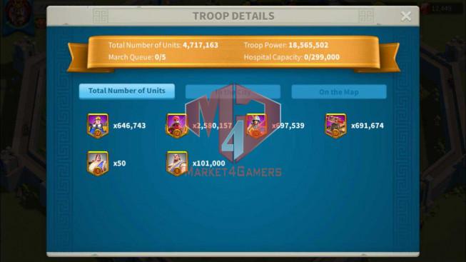Account 45M Power ** Maxed 3 Commanders ** 12K Gems ** 3M8 Credits