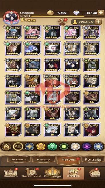 AFK 463M — Vip 10 — S168 – 41 Heroes Ascended – 4 Dimensional Heroes -34k diamond