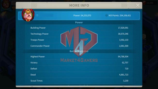Account 54M T5 ** Vip 13 ** Maxed 5 Commanders ** 14K Gems