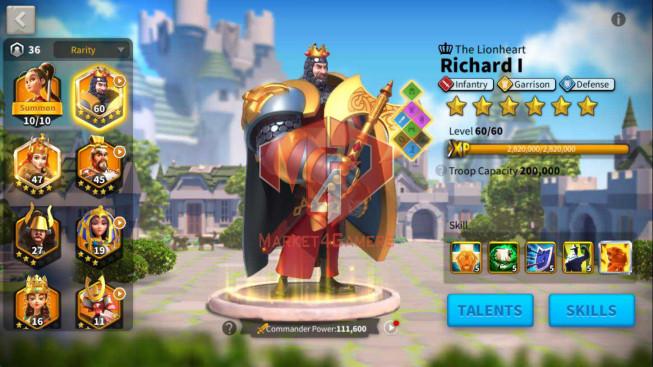 Account 30M Power ** Maxed Richard, Aethef ** 4M4 Credits ** 26K Gems