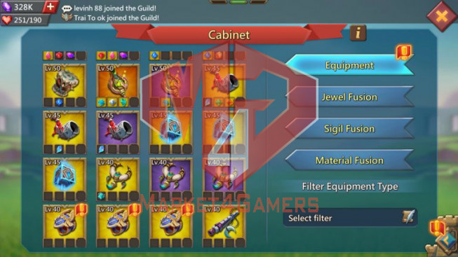 Account 817M – 328K Gems – War & Hunter Gear Perfect – 22M Troop – Pact 4 Great