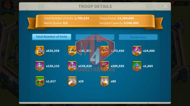 Account 63M Power ** Maxed 7 Commanders ** Farm Account ** 1M2 Credits