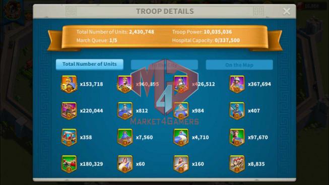 Account 54M Power T5 ** Maxed 5 Commanders ** 2 Farm Accounts