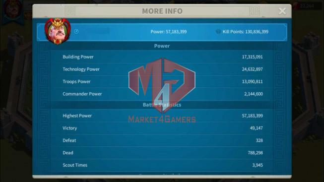 Account 57M Power T5 ** Maxed 3 Commnaders ** Farm Account