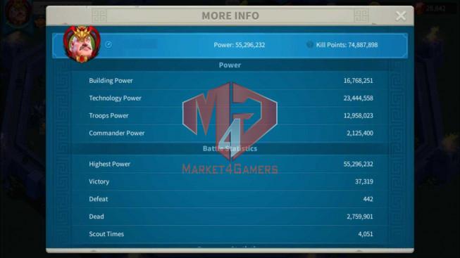 Account 55M Power T5 ** Maxed 3 Commanders ** 9M6 Credits ** 2 Farm Accounts