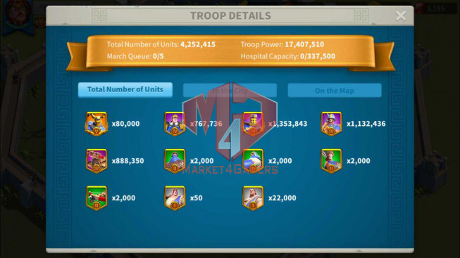 Account 63M Power T5 ** Maxed 7 Commanders ** Cavalry and Archer ** 10M Credits