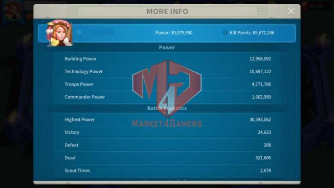 Account 30M Power ** Maxed Richard, Aethef ** 26K Gems ** 1M2 Credits