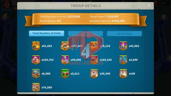 Account 59M Power T5 ** Maxed 7 Commanders ** 1M8 Credits