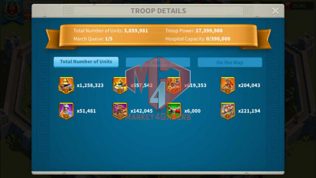Whale Account 80M Power ** Maxed 11 Commanders ** Specialized infantry ** 26K Gems