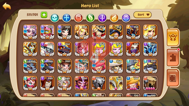 Android – Lv364- S24 – VIP 12 – 3 Void Heroes XIA,Halora,Jahra – 25 Heroes E5 + 2E1- 35 Skins – 19M Power