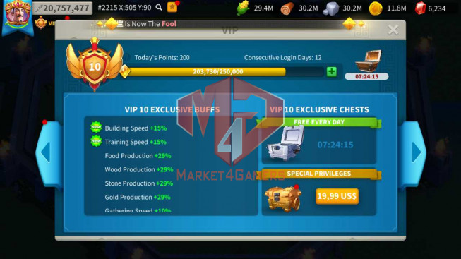 Account 20M Power ** 900K Credits Alliance ** Farm Account