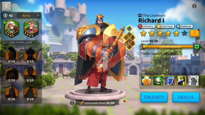 Account 40M Power ** Maxed 4 Commanders ** Castle lv 25 ** 5M1 Credits