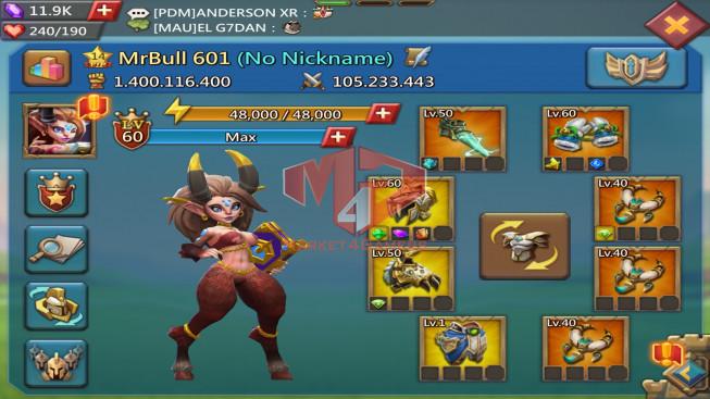 #601 1B4 T5 Gift patc 4 ( 3MS Kingdom 828 , 1,3B Food , 1,9B Stone , 2B Wood , 1,8B Ore , 1,8B Gold , skin house )