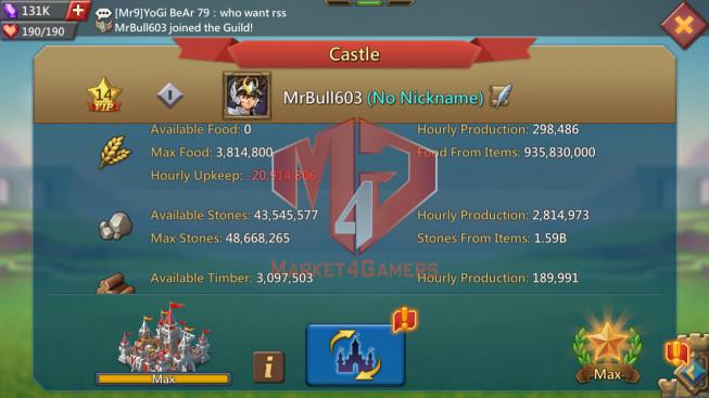 #603 576M No gift/ Pact 4 , 5( 4MS Kingdom 690 , 935M Food , 1,5B Stone , 500M Wood , 369M Ore , 500M Gold )