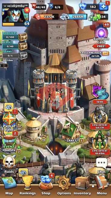 iOS Lv64 – Team Power 4710 – 20 Heros Lv80 – Troop Lv18 – Lv24