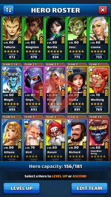 Android Lv71 – Team power 4760 – 29 Heroes Lv80 – Troop Lv13 – Lv28