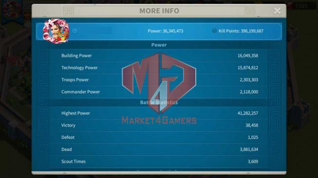 Account 36M Power ** Maxed 3 Commanders ** 7.5K Gems