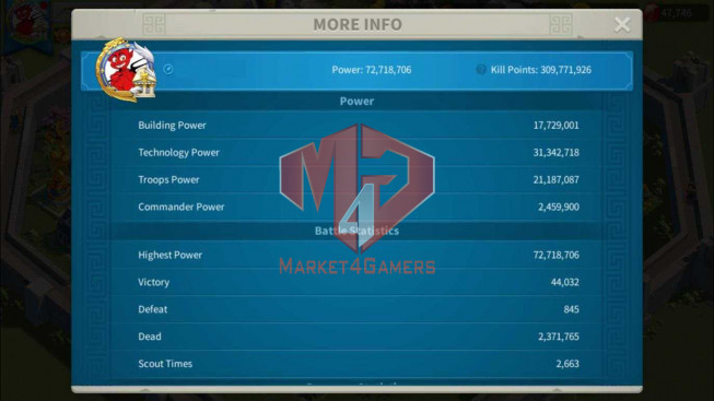 Account 68M Power ** Maxed 9 Commanders ** 2 Farm Account ** 6.6M Credits