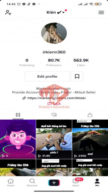 ✅ Account Verified 80.7k Followers – 562.9k Likes – Entertainment Channel